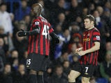 Manchester City's Italian player Mario Balotelli celebrates scoring his goal during an English Premier League football match between Chelsea and Manchester City at Stamford Bridge in London, on December 12, 2011