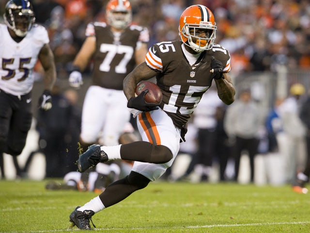 Wide receiver Davone Bess #15 of the Cleveland Browns runs for a gain during the first half against the Baltimore Ravens at FirstEnergy Stadium on November 3, 2013
