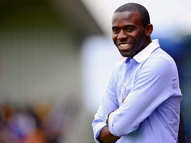Fabrice Muamba, manager of World Refugee Internally Displaced Persons (IDP) XI looks on during the charity football match between Arsenal Legends XI and World Refugee Internally Displaced Persons (IDP) XI at Underhill Stadium on June 23, 2013