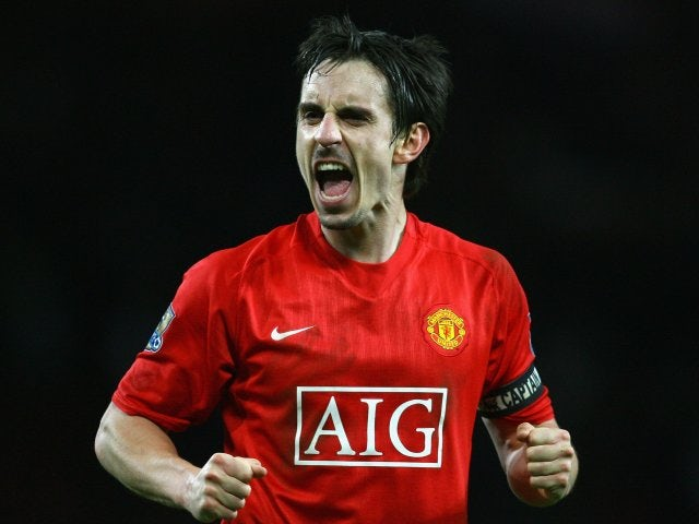 Gary Neville in action for Manchester United on January 11, 2009.