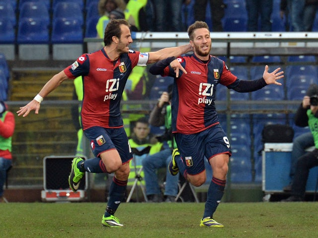 Andrea Bertolaci of Genoa CFC celebrates scoring the first goal during the Serie A match between Genoa CFC and Atalanta BC at Stadio Luigi Ferraris on December 15, 2013