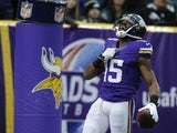 Greg Jennings of the Minnesota Vikings celebrates a touchdown during the first quarter of the game against the Philadelphia Eagles on December 15, 2013