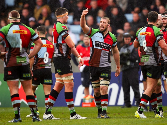Harlequins Captain Chris Robshaw instructs his team during the Heineken Cup Pool 4 round 4 match between Harlequins and Racing Metro 92 at Twickenham Stoop on December 15, 2013
