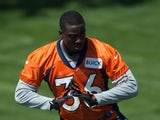 Cornerback Kayvon Webster #36 of the Denver Broncos participates in rookie camp at Dove Valley on May 10, 2013