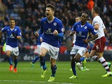 David Nugent of Leicester celebrates scoring from the penalty spot during the Sky Bet Championship match between Leicester City and Burnley at The King Power Stadium on December 14, 2013