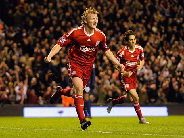 Dirk Kuyt of Liverpool celebrates scoring the opening goal during the Barclays Premier League match between Liverpool and Arsenal at Anfield on December 13, 2009