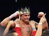 Marcos Maidana celebrates his unanimous decision against Adrien Broner becoming the new WBA Welterweight Title champion at Alamodome on December14, 2013
