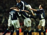 Ipswich Town celebrate Marcus Stewart's goal at Anfield on December 10, 2000.