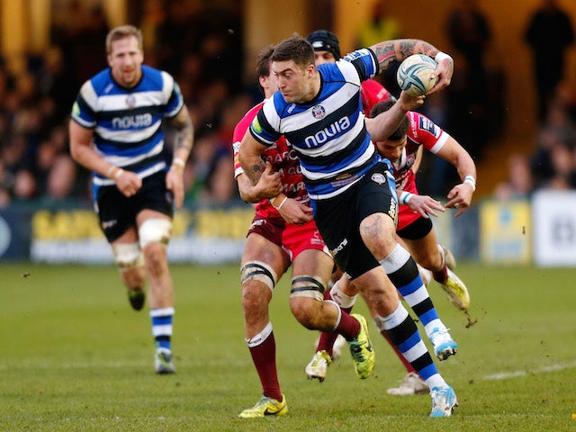 Matt Banahan of Bath charges upfield during the Amlin Challenge Cup pool two match between Bath and Rugby Mogliano at the Recreation Ground on December 14, 2013