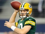 Quarterback Matt Flynn of the Green Bay Packers passes against the Dallas Cowboys during a game at AT&T Stadium on December 15, 2013