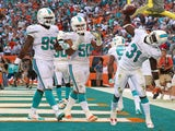 Michael Thomas of the Miami Dolphins celebrates a game clinching interception during a game against the New England Patriots at Sun Life Stadium on December 15, 2013