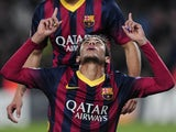 Barcelona's Brazilian forward Neymar da Silva Santos Junior celebrates his goal during the UEFA Champions League Group H football match FC Barcelona vs Celtic FC at the Camp Nou stadium on December 11, 2013