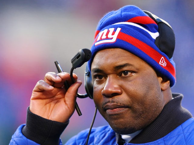 Perry Fewell, Defensive Coordinator for the New York Giants looks on against the Philadelphia Eagles at MetLife Stadium on December 30, 2012