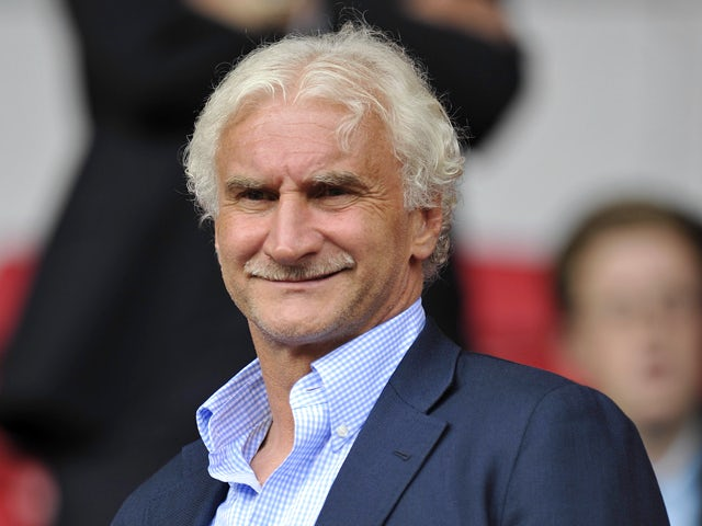 Rudi Voller Director of Sport of Bayer Leverkusen in the stands during the pre season friendly match between Liverpool and Bayer Leverkusen at Anfield on August 12, 2012