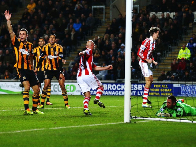 Stephen Ireland of Stoke City scores but has his goal ruled out for offside during the Barclays Premier League match against Hull City on December 14, 2013