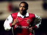 Thierry Henry in action for Arsenal on November 28, 1999.
