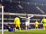 Tottenham Hotspur's Spanish striker Roberto Soldado celebrates after scoring during the UEFA Europa League Group K football match Tottenham vs Anzhi Makhachkala at White Hart Lane on December 12, 2013