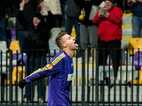 Zeljko Filipovic of NK Maribor celebrates after scoring a goal during the UEFA Europa League football match between NK Maribor and Wigan Athletic in Maribor, on December 12, 2013