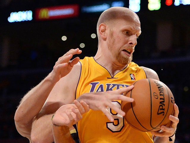 Los Angeles Lakers' Chris Kaman in action against New Orleans Pelicans on November 12, 2013