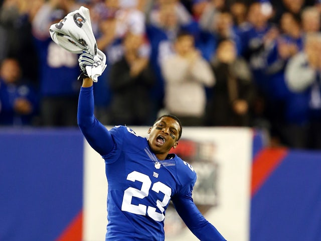 Cornerback Corey Webster #23 of the New York Giants reacts against the Minnesota Vikings during a game at MetLife Stadium on October 21, 2013