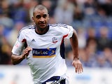 David Ngog of Bolton Wanderers during the Sky Bet Championship match between Bolton Wanderers and Queens Park Rangers at Reebok Stadium on August 24, 2013