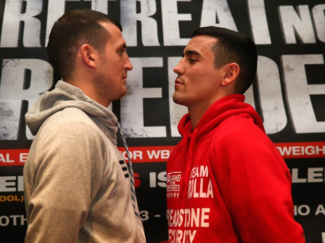 Derry Matthews goes face to face with Anthony Crolla during a press conference at the Hilton Hotel on January 9, 2013 in Liverpool, England. Derry Matthews is due to fight Anthony Crolla at Betfairs's 'No Retreat, No Surrender' event on March 30, 2012