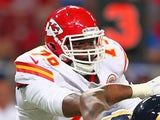 Donald Stephenson of the Kansas City Chiefs blocks against the St. Louis Rams during a pre-season game at the Edward Jones Dome on August 18, 2012