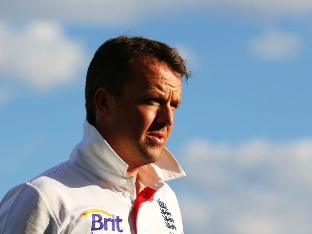 Graeme Swann of England looks on after the end of play on day two of the tour match between the Chairman's XI and England at Traeger Park Oval on November 30, 2013