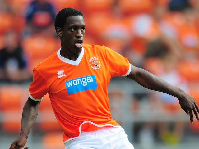 Blackpool player Isaiah Osbourne in action during the pre season friendly match between Blackpool and Newcastle United at Bloomfield Road on July 28, 2013