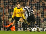 Laurent Robert scores Newcastle United's third goal against Arsenal on December 18, 2001.