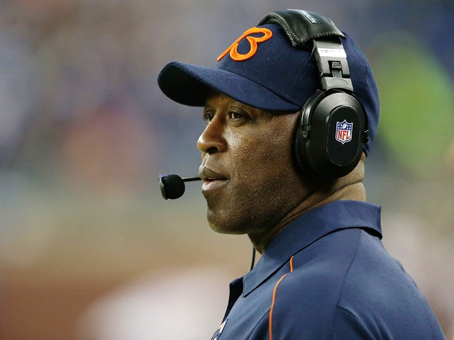 Chicago Bears head coach Lovie Smith watches the action during the game against the Detroit Lions at Ford Field on December 30, 2012