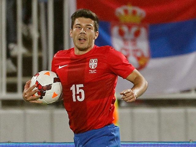 Milos Jojic of Serbia celebrates his first goal in national team during international friendly match between Serbia and Japan at stadium Karadjordje on October 11, 2013