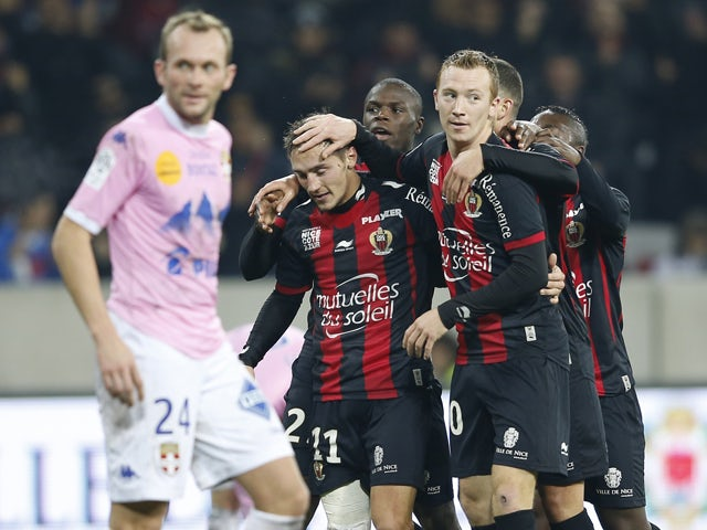 Nice's French forward Eric Bautheac celebrates after scoring a goal during the French L1 football match Nice (OGC Nice) vs Evian (ETGFC) on December 21, 2013