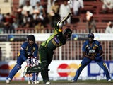 Pakistan's Sohaib Maqsood plays a ball during the 1st One Day International between Sri Lanka and Pakistan in Sharjah, on December 18, 2013