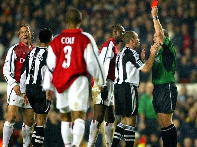 Ray Parlour, then of Arsenal, receives a red card against Newcastle Untied on December 18, 2001.