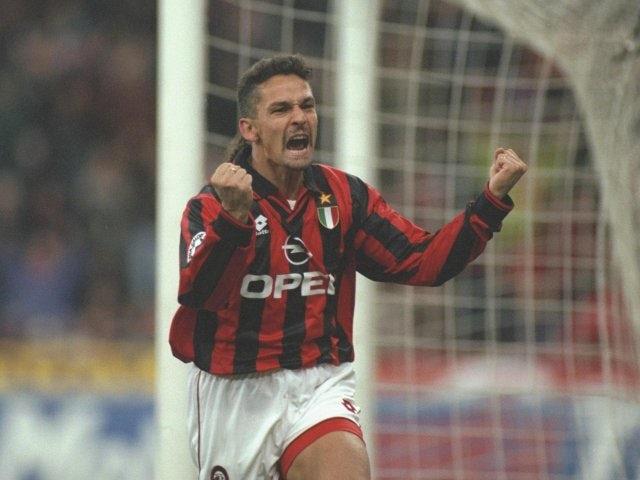 Roberto Baggio celebrates scoring for AC Milan against Inter Milan on November 24, 1996.