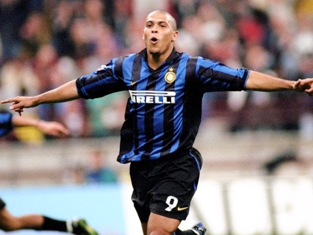 Ronaldo celebrates scoring for Inter Milan on September 20, 1998.