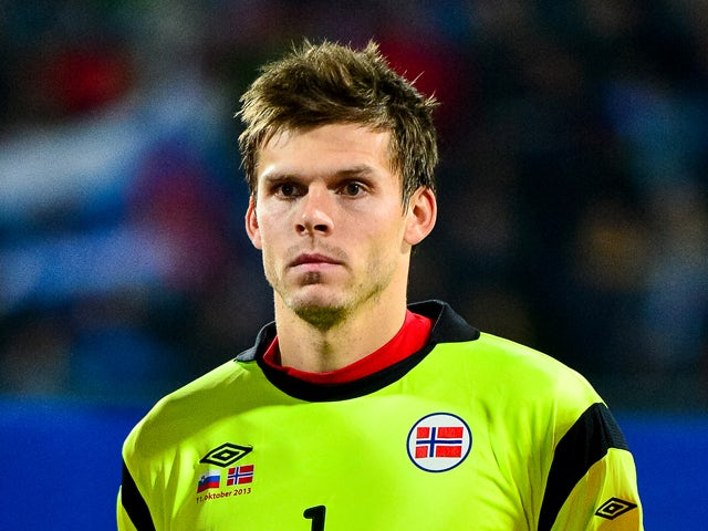 Norway's goalkeeper Rune Almenning Jarstein looks on during the World Cup 2014 qualifying football match between Slovenia and Norway in Maribor, Slovenia on October 11, 2013