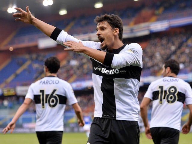 Dias Da Silva Dal Belo Felipe gestures during the Serie A match between UC Sampdoria and Parma FC at Stadio Luigi Ferraris on December 22, 2013