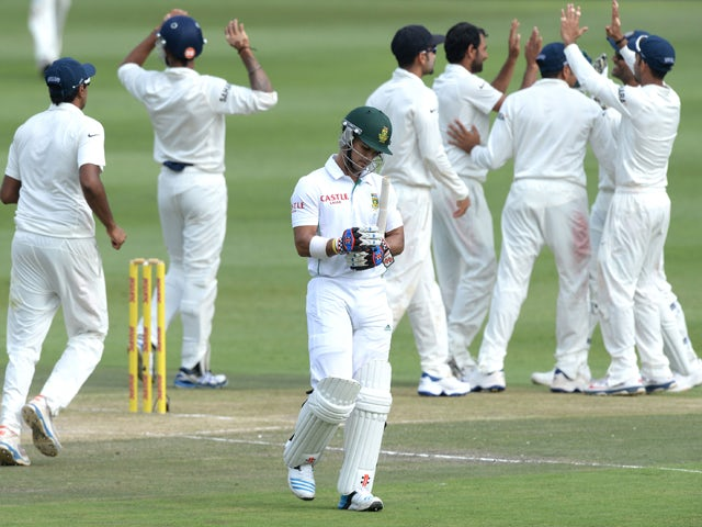 JP Duminy of South Africa dismissed for 2 runs during day 2 of the 1st Test match between South Africa and India at Bidvest Wanderers Stadium on December 19, 2013