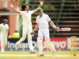 Indian bowler Ishant Sharma celebrates the wicket of South Africa's Dale Steyn on the third day of the first test between South Africa and India in Johannesburg at the Wanderers Stadium on December 20, 2013