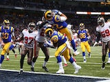 Stedman Bailey of the St. Louis Rams scores a touchdown against the Tampa Bay Buccaneers at the Edward Jones Dome on December 22, 2013