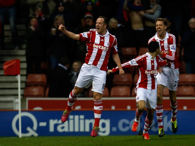 Charlie Adam of Stoke celebrates his goal during the Barclays Premier League match between Stoke City and Aston Villa at the Britannia Stadium on December 21, 2013