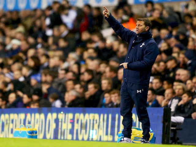 Tim Sherwood interim manager of Tottenham Hotspur gives instructions during the Capital One Cup Quarter-Final match between Tottenham Hotspur and West Ham United on December 18, 2013