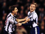 Matej Vydra of West Bromwich Albion celebrates with team mate Zoltan Gera after scoring during the Barclays Premier League match between West Bromwich Albion and Hull City at The Hawthorns on December 21, 2013