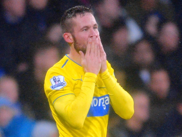Yohan Cabaye of Newcastle United celebrates scoring the first goal during the Barclays Premier League match against Crystal Palace on December 21, 2013