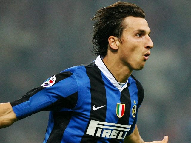 Zlatan Ibrahimovic celebrates scoring for Inter Milan on October 28, 2006.