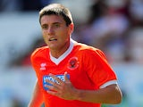 Blackpool player Bobby Grant in action during the pre season friendly match between Blackpool and Newcastle United at Bloomfield Road on July 28, 2013