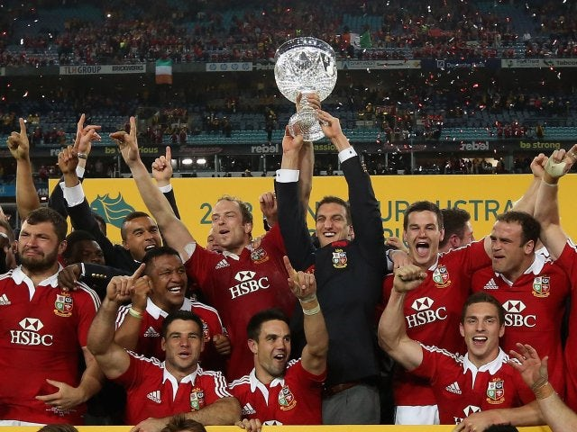 The British & Irish Lions celebrate their victory in Australia on July 06, 2013.