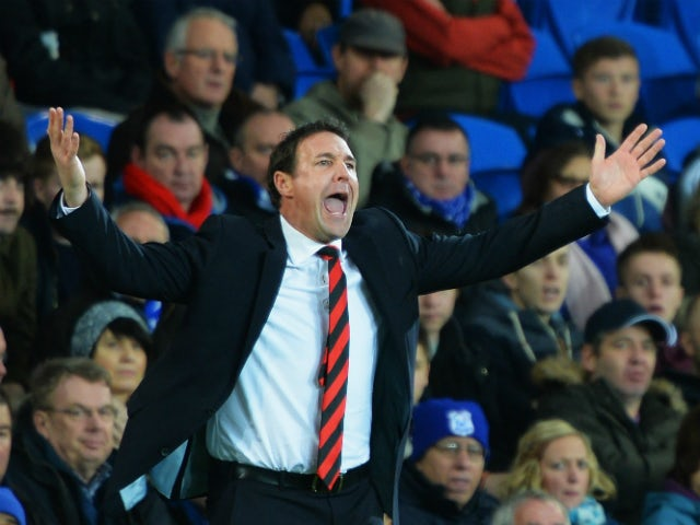 Malky Mackay, manager of Cardiff City shows his frustration during the Barclays Premier League match between Cardiff City and Southampton at Cardiff City Stadium on December 26, 2013